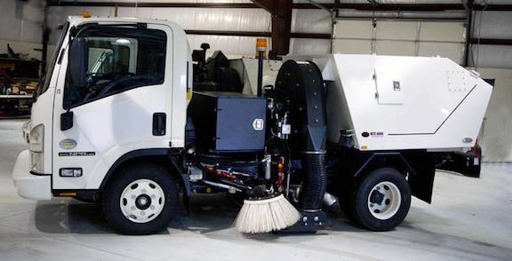 small commercial parking lot sweeper