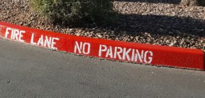 red fire lane curb with no parking