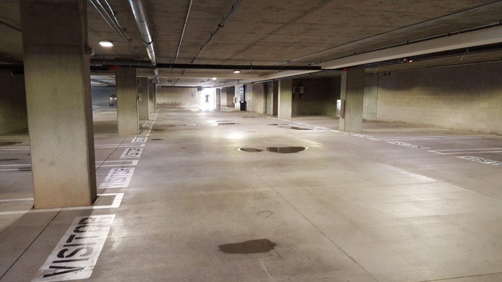 a clean parking garage floor